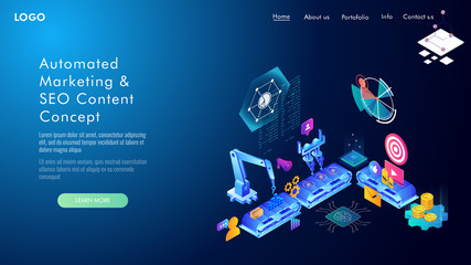 Automated marketing and SEO content isometric concept, vector illustration