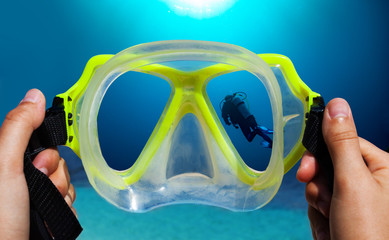 Underwater view through mask of diver image