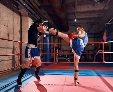 Two martial sportsmen boxers exercising kickboxing in the ring at the sport club