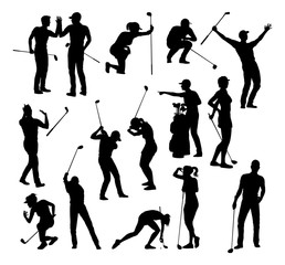 A set of golfer sports people playing golf in various poses