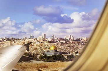 Israel Jerusalem city view from plane window