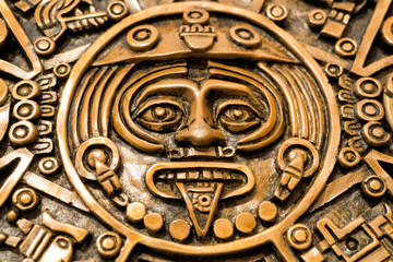 Central disk of the Aztec sun stone or Aztec calendar, with the face of the solar deity Tonatiuth