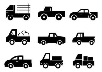 solid icons set,transportation,Pickup truck,vector illustrations