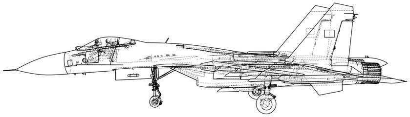 Military plane. Fighter jet vector illustration. Created illustration of 3d.