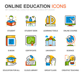 Simple Set Education and Knowledge Line Icons for Website and Mobile Apps. Contains such Icons as Online Course, University, Studying, Book. Conceptual color line icon. Vector pictogram pack.