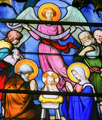 Wall Mural - Nativity Scene at Christmas - Stained Glass in Quartier Latin, Paris, France