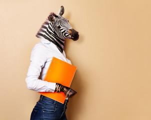 Zebra head woman office worker concept portrait