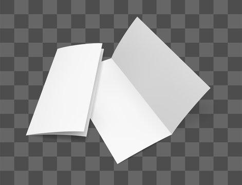 Blank bi fold paper brochure mockup. Flyer design template on transparent background. Vector illustration set.