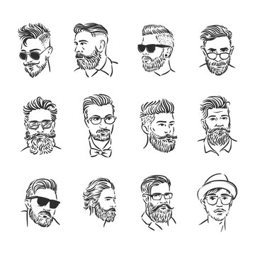 Vector illustration concept of Hipster portrait icon. Black on white background