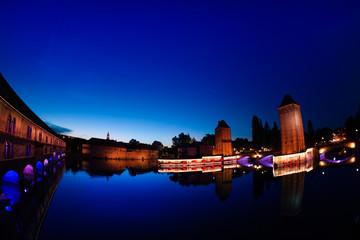 Night view of rampart at Grande Ile, Strasbourg