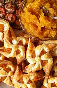 Pineapple pie pastry pinwheel  with jam