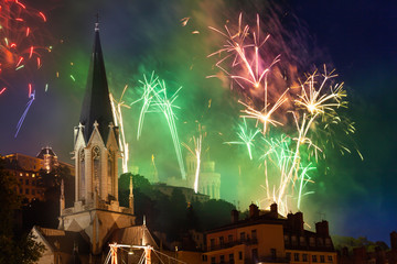 Fireworks in night sky over St George Church, Lyon