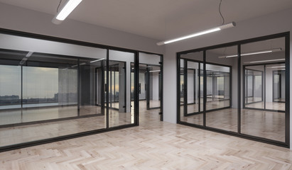 Illuminated Office Rooms with Glass Partitions 3D Rendering