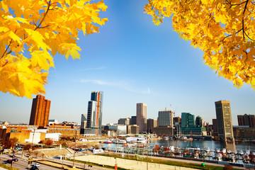 Baltimore Inner Harbor in autumn, Maryland, USA