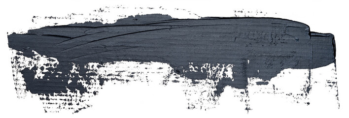 Template for your banner text - long textured hand drawn black oil paint brush stroke, isolated on white background. Wall mural