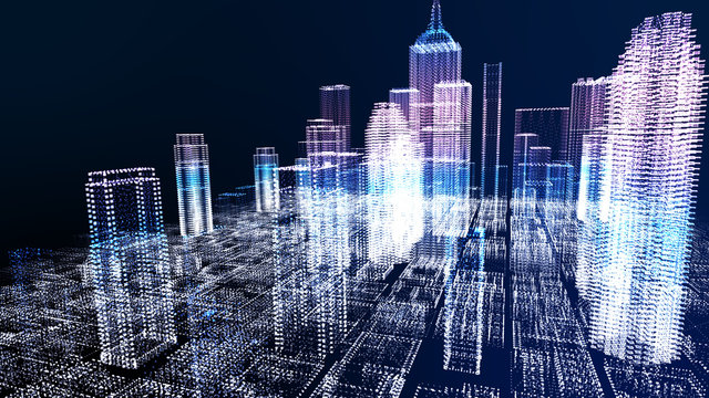 Energy power of future big city concept, neon cyber light skyscraper building of business area architecture simulation technology digital fly over view, blue theme