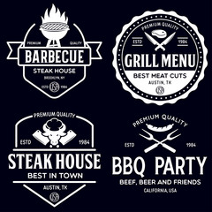 Steak House, barbecue, bbq party, restaurant logo templates. Collection elements for grill menu design.
