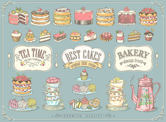 Big vintage collection of hand-drawn tea and kb bakery. Freehand drawing, sketch