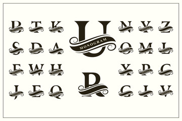 Set of Stylish Capital Letters. Vintage Logos. Filigree Monograms. Ribbon for Inscription. Beautiful Collection. English Alphabet. Simple Emblems. Design of Calligraphic Insignia. Vector illustration