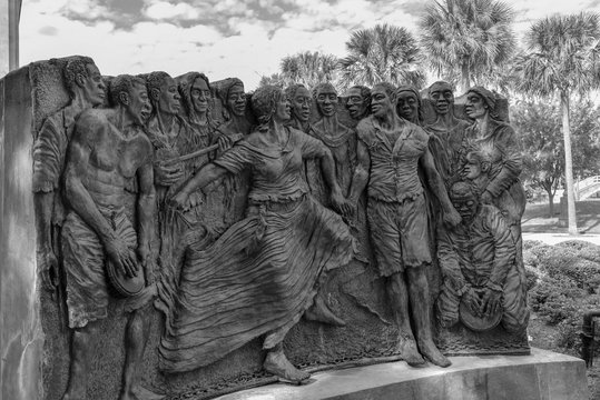 Sculpture of dancing slaves in the congo square at Louis Armstrong park in NOLA (USA)