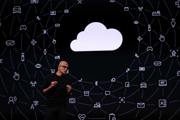 Microsoft CEO Satya Nadella speaks during a device-launching event ahead of the Mobile World Congress in Barcelona