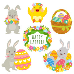 Clip art set of cute cartoons for Easter. Easter bunnies, Easter eggs, flowers and decorations.