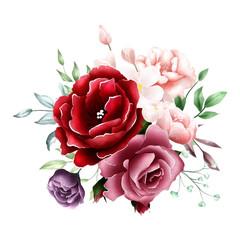 watercolor rose bouquet background