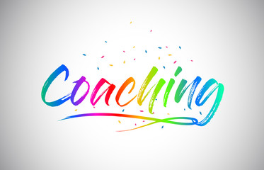 Coaching Creative Vetor Word Text with Handwritten Rainbow Vibrant Colors and Confetti.