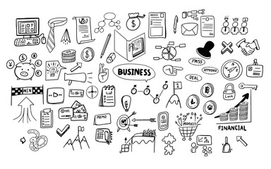 cute hand drawing doodle art of business and financial theme icons isolated on white background set collection