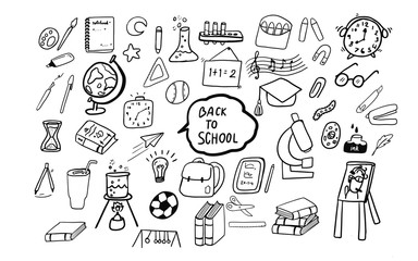 cute hand drawing doodle art of education  stuff in Back to School concept isolated set collection