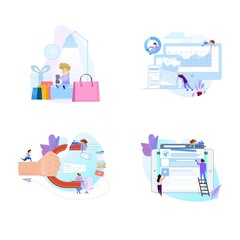 Collection of people scenes, flat style illustration. Concept design.