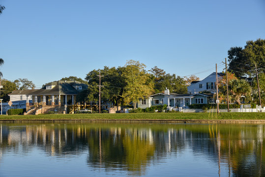 Typical houses in the Bayou St. John of New Orleans (USA)