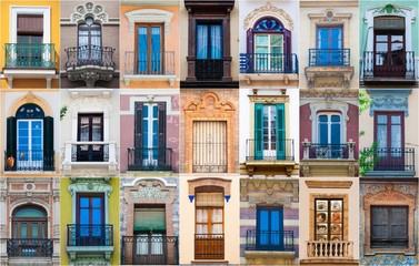 mosaic collage of multiple different windows in southern spain Wall mural