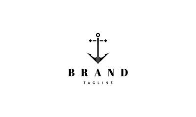 Anchor black vector abstract logo design image
