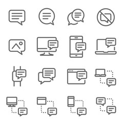 Bubble Chat Message Vector Line Icon Set. Contains such Icons as Conversation, SMS, Notification, Communication and more. Expanded Stroke