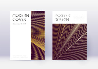 Minimal cover design template set. Gold abstract l