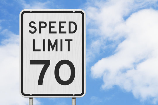 US 70 mph Speed Limit sign