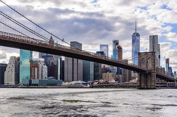 NYC Skyline from Brooklyn Bridge Park in Brooklyn, New York, USA