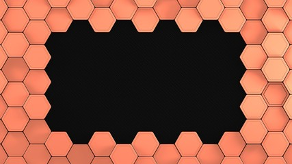 Wall Mural - Carbon and copper metal hexagons background template. 3d Render