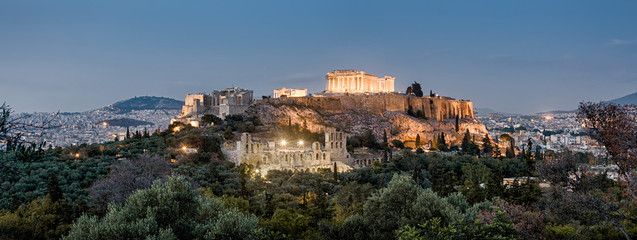 Panoramic view of Acropolis hill at night, Athens, Greece