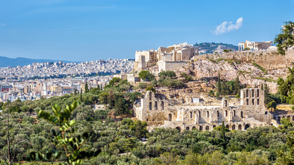 Fototapete - Panorama of Athens with Acropolis hill, Greece