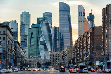 Wall Mural - Panorama of Moscow with skyscrapers of Moscow-City at sunset, Russia