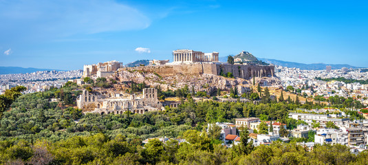 Poster Athene Panorama of Athens with Acropolis hill, Greece