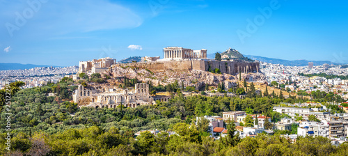 Fototapete Panorama of Athens with Acropolis hill, Greece