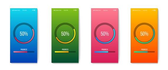 Creative vector illustration of mobile app progress bar loading isolated on transparent background. Art design preloader template. Abstract concept graphic upgrade, update, download diagram element
