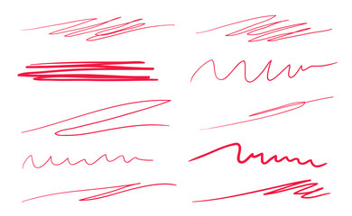 Hand drawn abstract underlines on white. Colored backgrounds with array of lines. Chaotic patterns. Colorful illustration. Sketchy elements