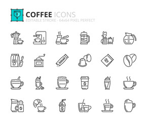 Outline icons about coffee