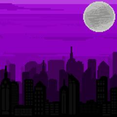 Pixel art background. Pixel city. 8 bit