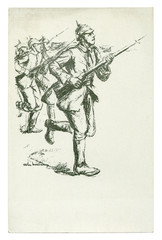 German historical postcard: Black and white pencil sketch. The soldiers run into the attack with a rifle with a bayonet. The army on the offensive. world war one 1914-1918. Germany