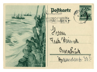 "German historical postal card: ""Winter Relief"" Series ""Ships"", Fishermen on a trawler throwing nets into the sea, issue 1937, Germany, world war two, Third Reich"